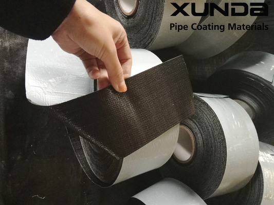 Geotextile backed Polypropylene Fiber Woven Tape , protective pipeline coating bituminous tape