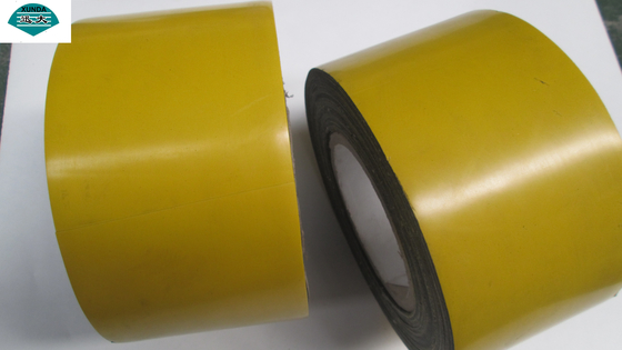 Gas / Oil Pipeline Underground Pipe Wrapping Tape , yellow color Anti Corrosion Pipe Wrap Tape